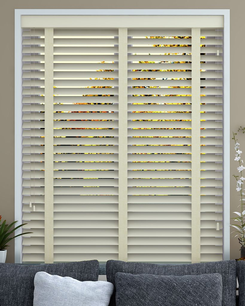 Wooden Venetian Blind In Mirren With 50mm Slats Vanilla Coloured Tapes From Make My Blinds