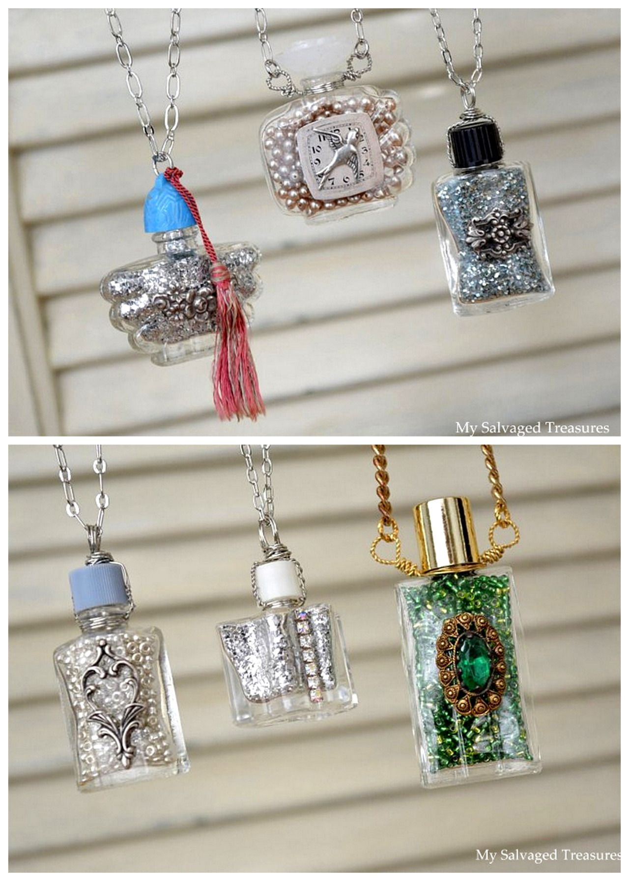 DIY Wire Wrapped Perfume Bottle Necklace Tutorial from My Salvaged ...