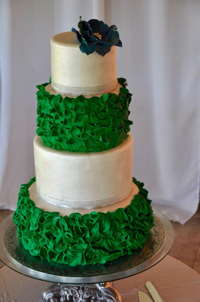 Emerald green and pearl wedding cake Emerald wedding