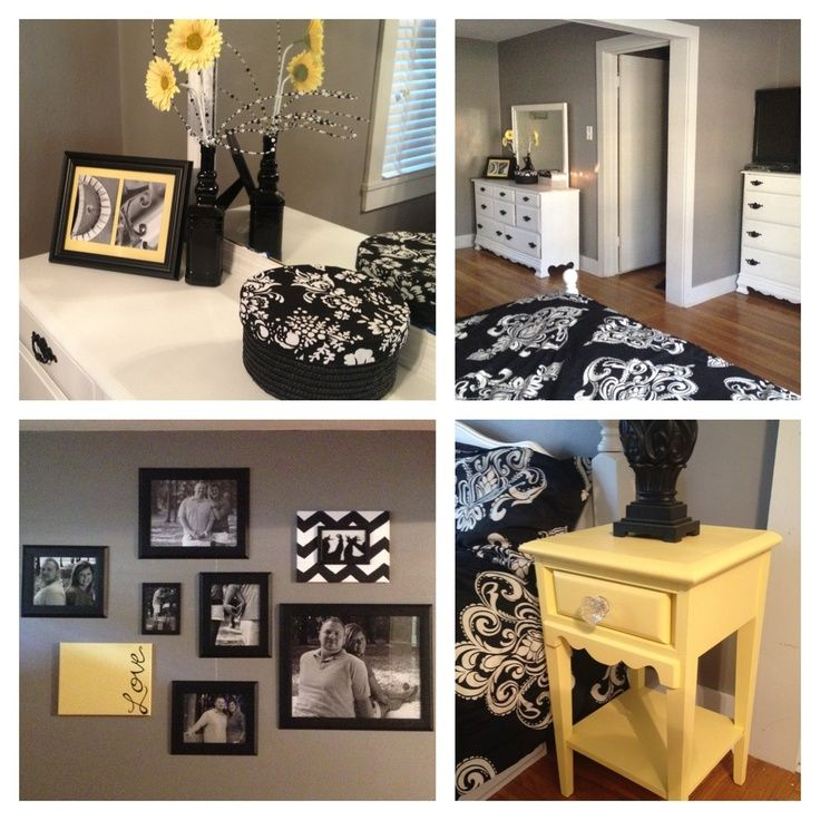 Black And White And Yellow Bedroom black, white, gray and yellow bedroom | bedroom transformation