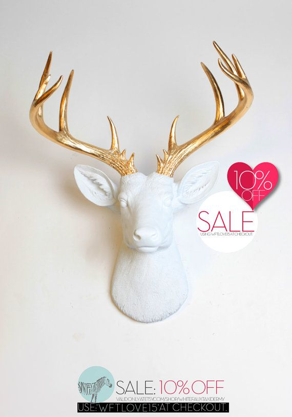 Faux Deer Head Wall Mount The Xl Alfred Large W Gold Antlers Resin Fake Animal Heads By White Taxidermy