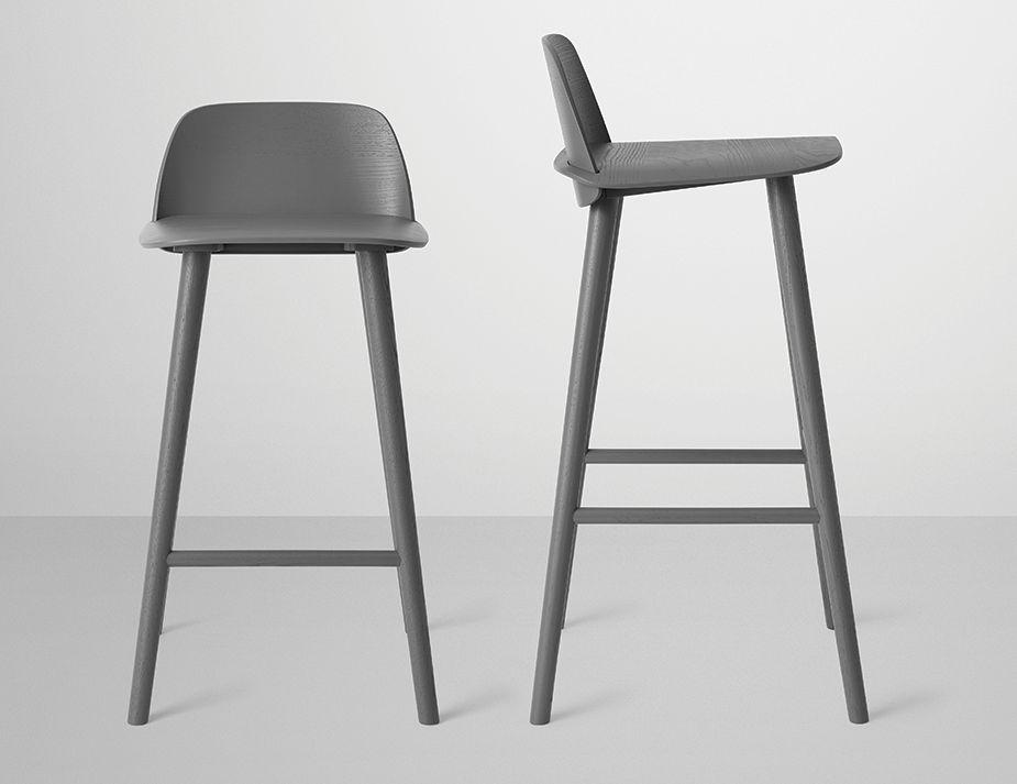 Muuto Nerd Stoel : Dark grey nerd bar stool by david geckeler for muuto furniture
