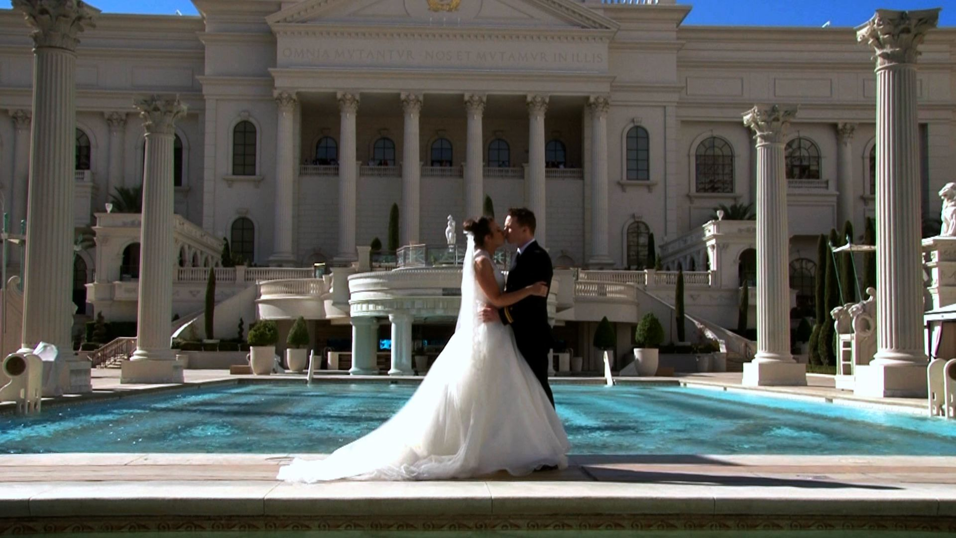 Caesars Palace Pool. Grace and Dave Wedding videographer