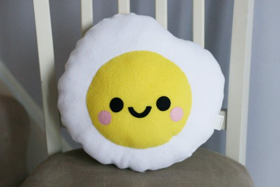Fried Egg Plushie, Food, Cute Pillow, Kawaii Room Decor, Travel Pillow, Kids Room Decor