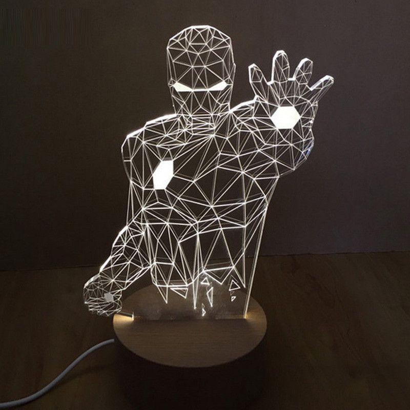 LED Cool Action Figure Table Lamp Iron man, Aliens, Sprider Man, Transformor, Batman