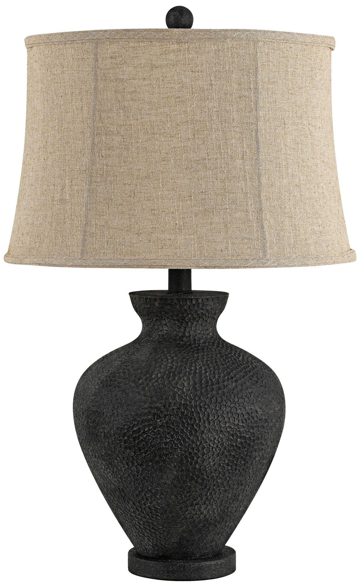 Ahumada Charcoal Black Hammered Metal Table Lamp Table Lamp