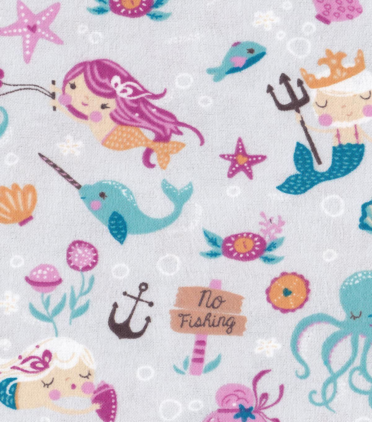 Snuggle Flannel Fabric Mermaid Friends Flannel Quilts