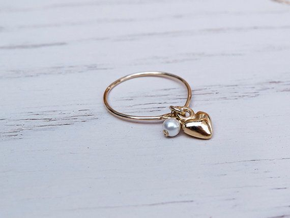 fec2aaedc Gold · Small ring with gold heart charm and pearl. by JustEnjoyYourJewel