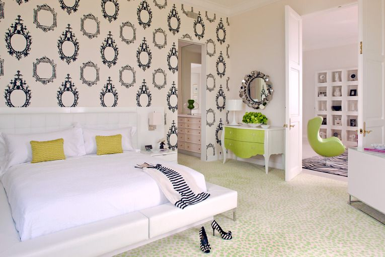 What a whimsical wallpaper Love the touches of green Erika Brunson