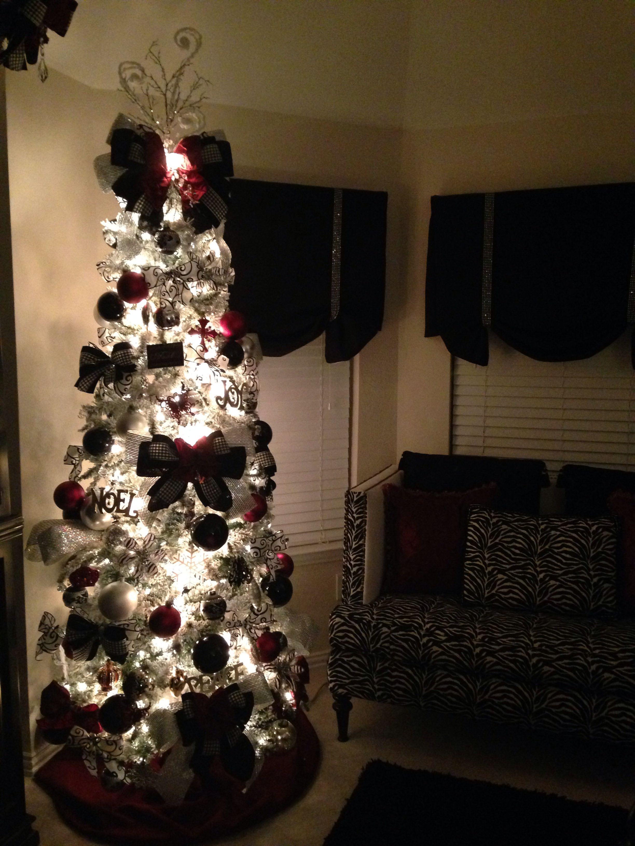 Burgundy Black And Silver Christmas Tree Designer Zebra Flockedtree Crosses Silver Christmas Tree Decorations Black Christmas Trees Silver Christmas Tree