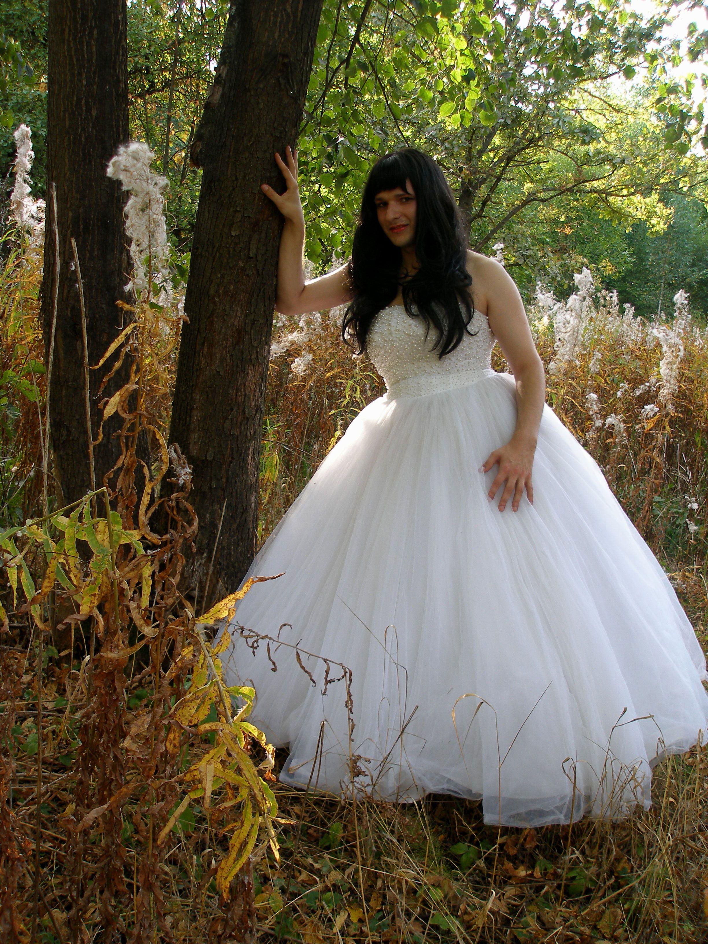 Crossdressing Wedding Gown On The Nature 1 Crossdress Bride Its