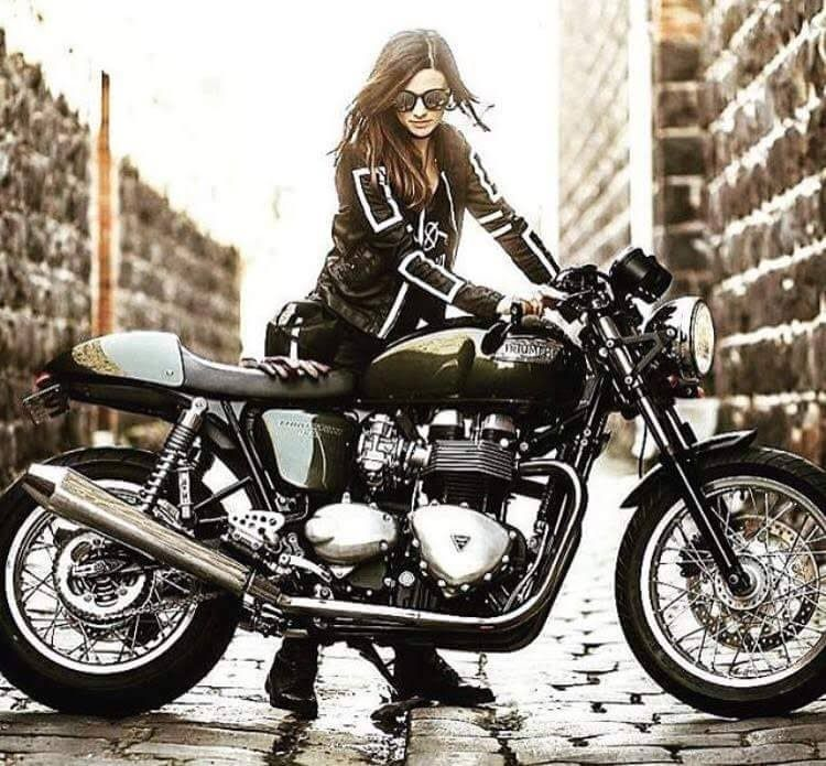 Motorcycles, bikers and more — Biker girl on Triumph