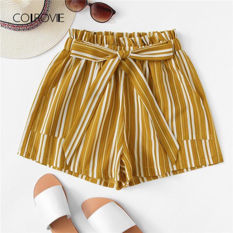 4347a5dfafad Tie Waist Striped Shorts
