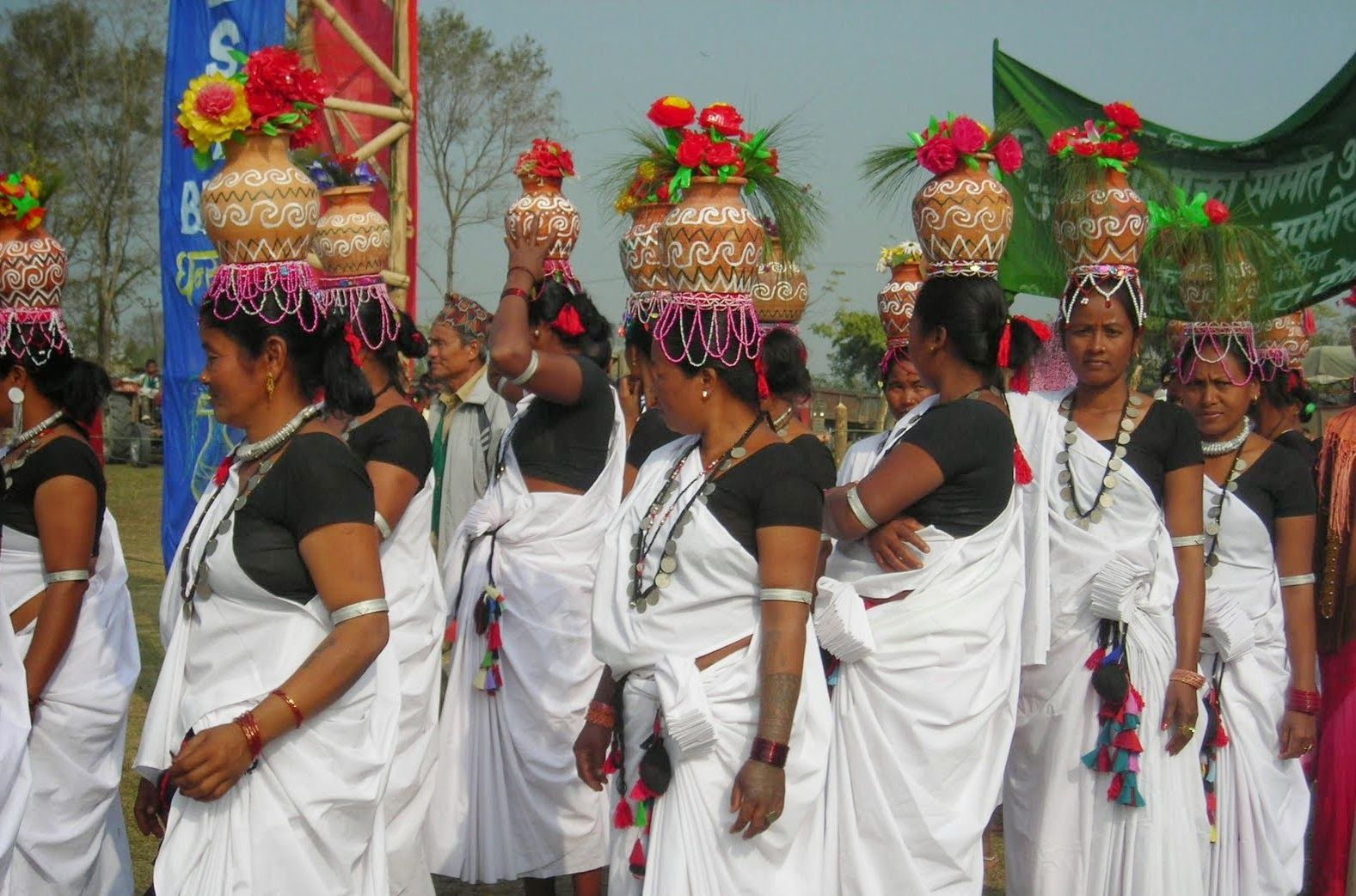Tharu Women participating in Maghi Festiva