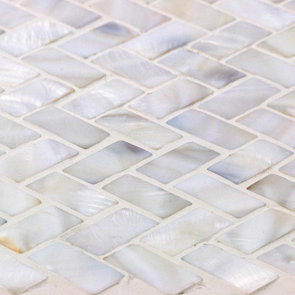 Ivy Hill Tile Pacif White Herringbone Pearl Mosaic Tile 3 In X