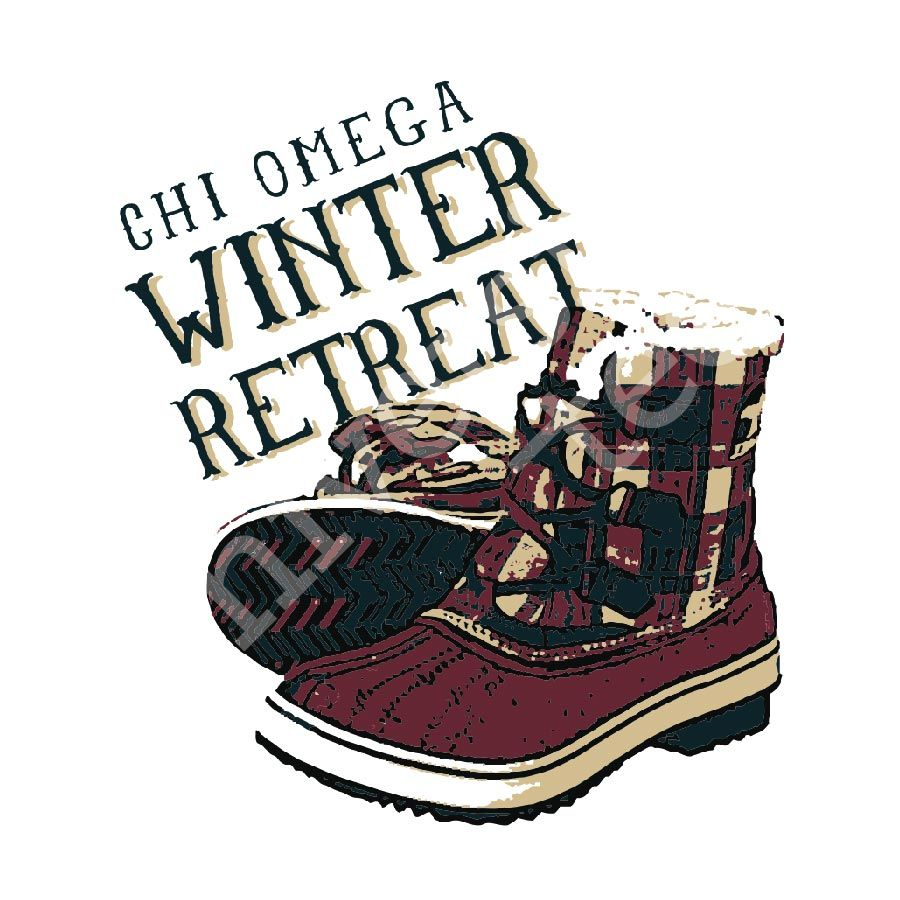 Stay warm and cozy on your winter retreat with furry boots and a new longsleeve! | Chi Omega | Made by University Tees | www.universitytees.com