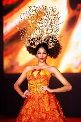 """Always fabulous @thanujaananthan  wearing Bremen w millinery """" The Peacock Throne """" Hat .  Was inspire by a famous jewelled throne that was the seat of the Mughal emperors of India . For Carven Ong at SOGO KL 2014"""