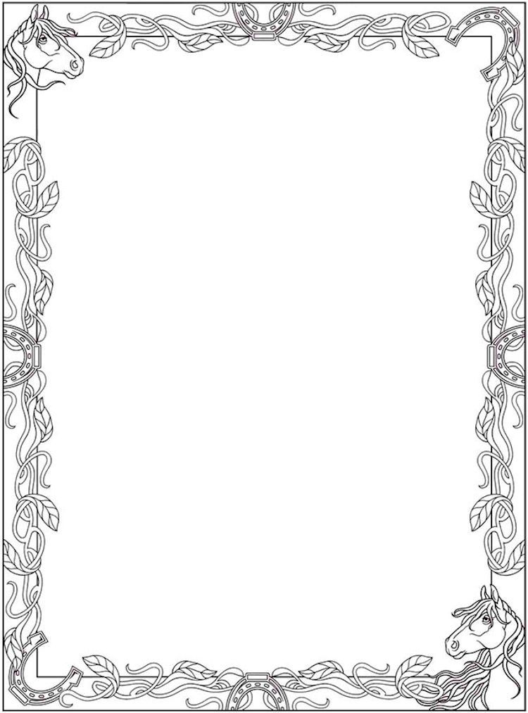 Dover Creative Haven Horse Frame Coloring Page 1 Dover Coloring
