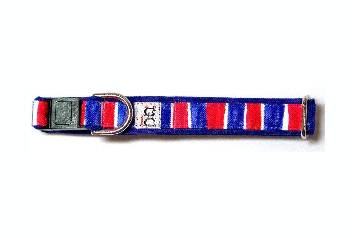 Cat Safety Collar - Patriotic Red White Blue in Verticals Cat Collar