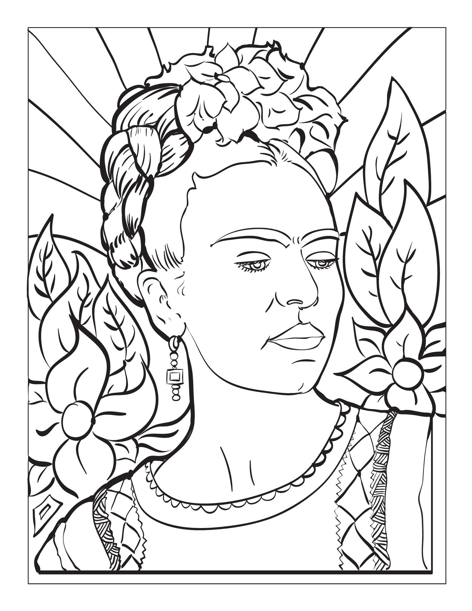 Frida Kahlo Coloring Page Meksika Sanati Soyut Boyama Sayfalari