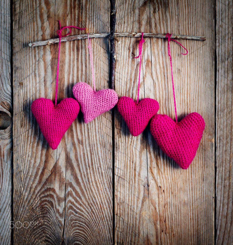 Crochet Pink Hearts On Wooden Background By Anjelika Gretskaia On 500px