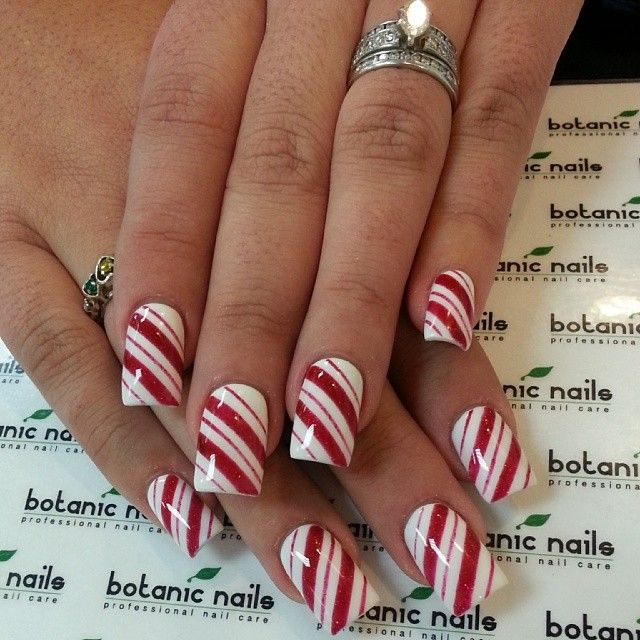 More candy cane nail art for Christmas holidays I love these as opposed to  traditional stripes. - Photo Taken By BOTANIC NAILS - INK361 Manicure Pinterest