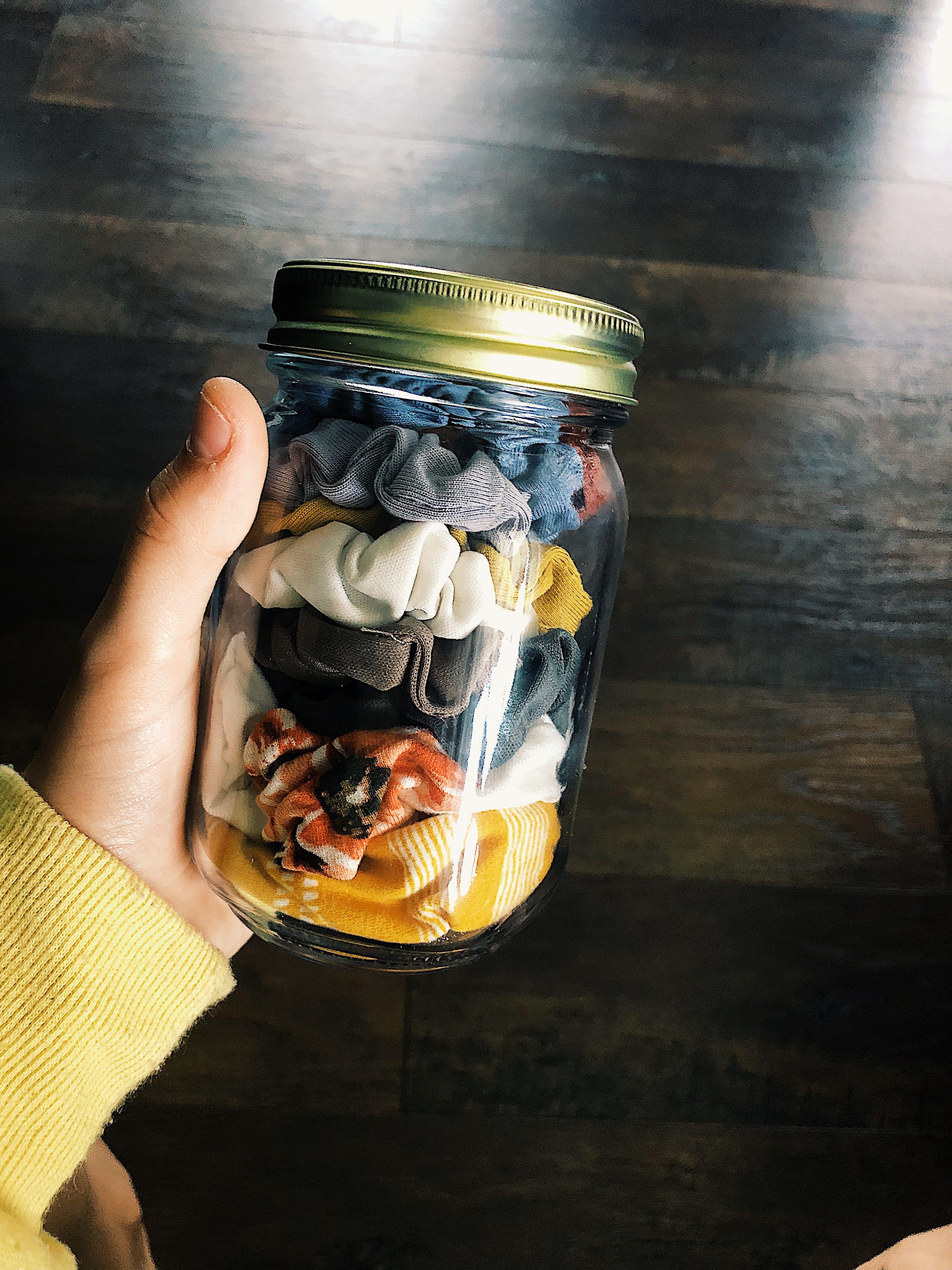 DIY aesthetic scrunchie jar organizer | Scrunchies, Jar ...
