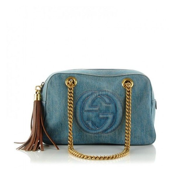 ff6fee2571f099 GUCCI Denim Small Soho Chain Shoulder Bag Blue ❤ liked on Polyvore  featuring bags, handbags, shoulder bags, denim shoulder bag, gucci, gucci  handbags, ...