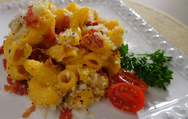 RICOS RECIPE: Baked Mac-n-Cheese With Sun Dried Tomatoes.  http://www.ricos.com/recipe/baked-mac-n-cheese-with-sun-dried-tomatoes/