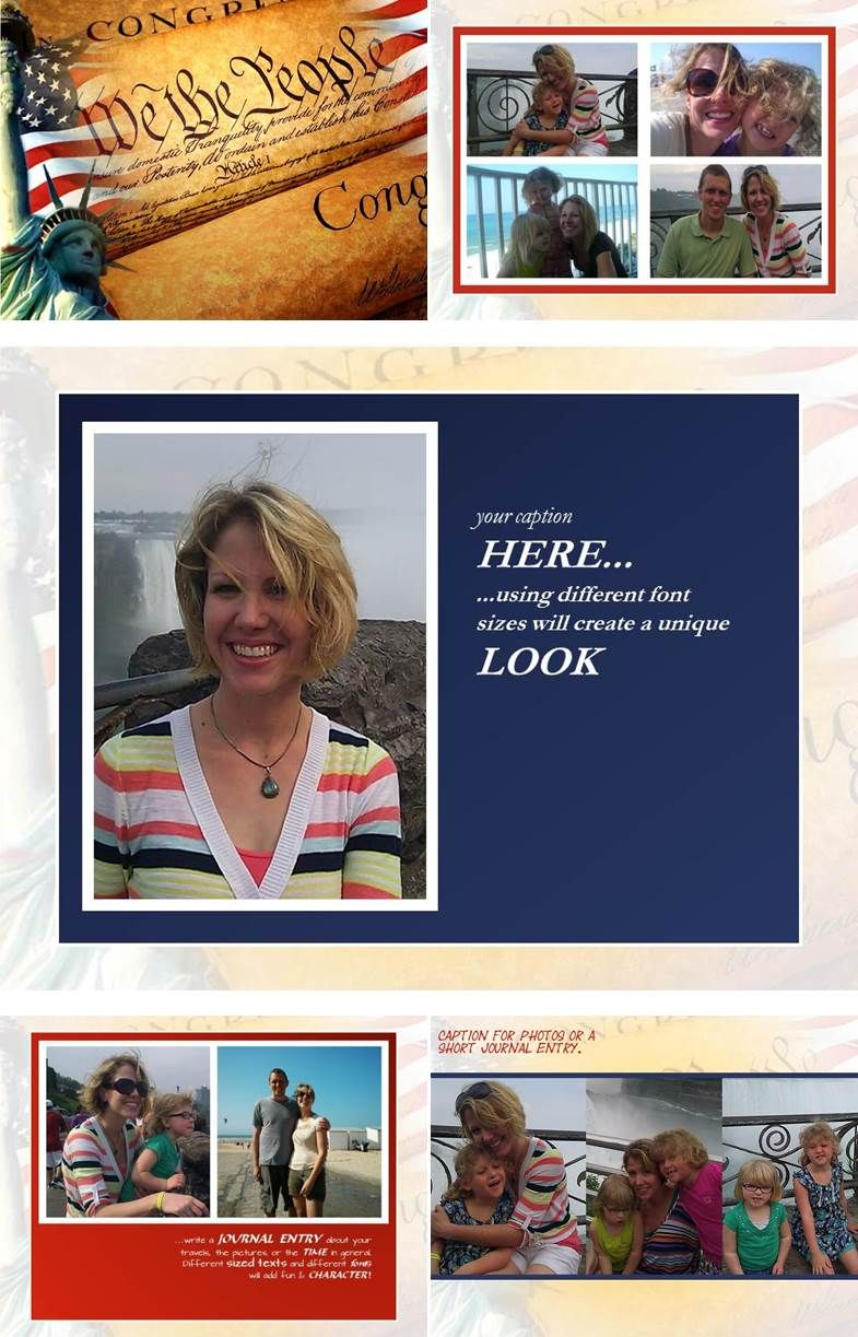"""""""We The People"""" is a digital scrapbook layout that, once again, is a bit understated, but in a good way. Your photos will really stand out against a faded collage of the things that makes America great!"""