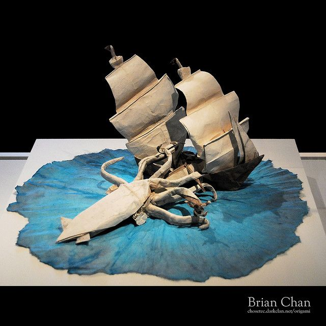The Kraken!   Origami art from a single sheet of paper (!) in Peabody Essex Museum