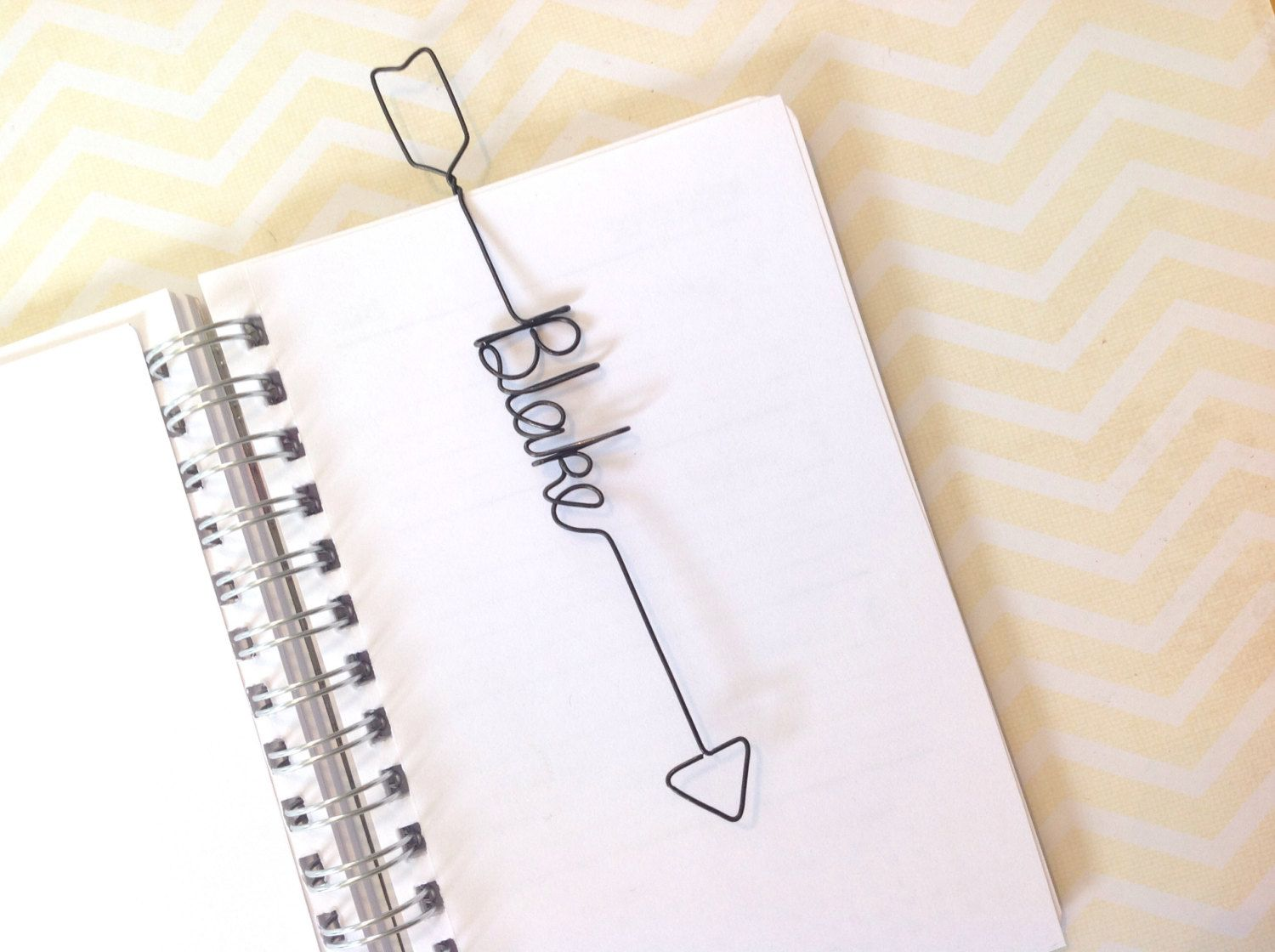 Personalized Bookmark Arrow Shaped, Personalized Wire Bookmark Arrow ...