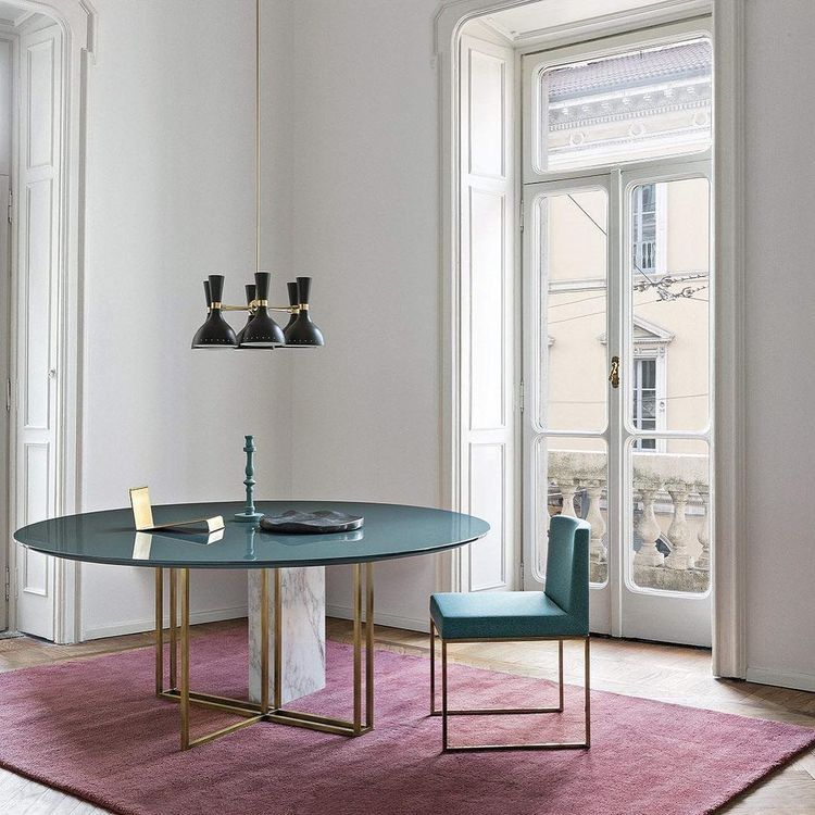 Parisian Apartment Dining Area Table House Beautiful Cook Teal Carpet Scene Rooms