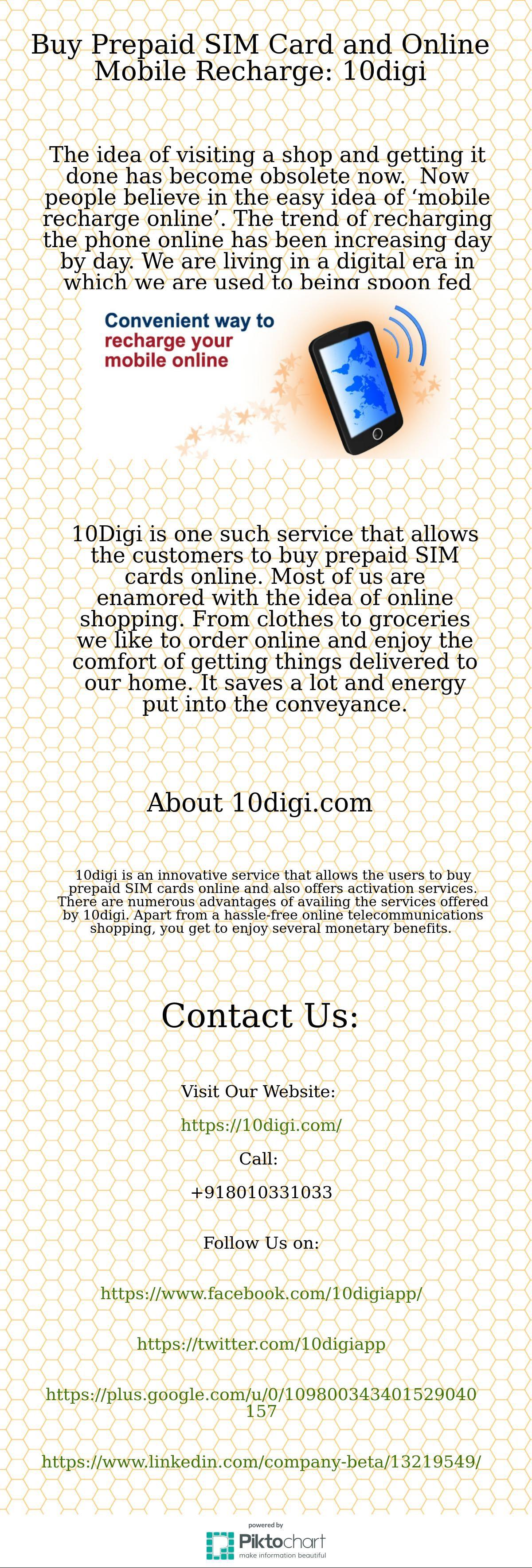 Buy prepaid sim card and online mobile recharge 10digi