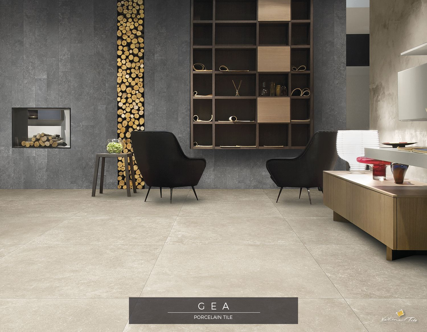 Stylish Modern Living Room Natural Stone Look Wall Floor Tiles