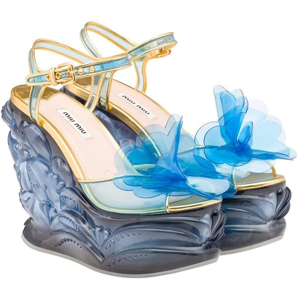 pearl embellished wedge sandals - Blue Miu Miu KrIHJP