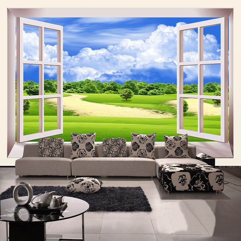 Custom 3D Wallpapers Roll Outside The Window Forest Lawn Blue Sky Landscape Painting Photo Wall Paper