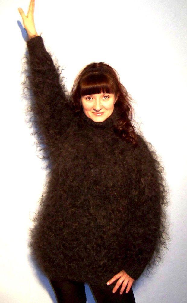340273830357c Cashmere Mohair Angora Sweater Coat Pullover Fur Down organic FETISH unisex  sexy  Handmade  Crewneck