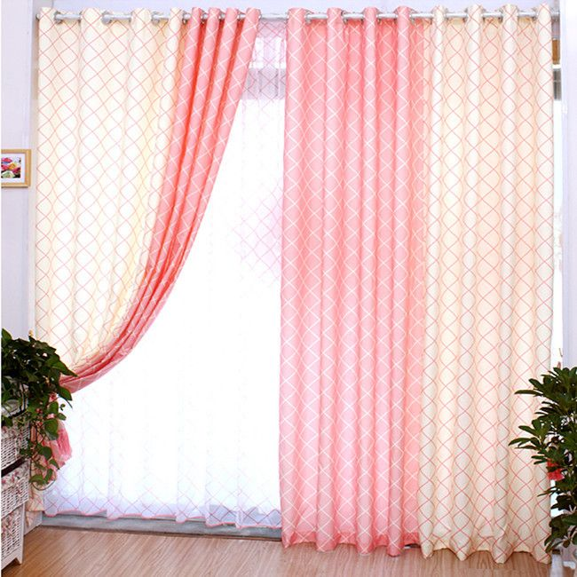 Youth Melody Pink Blue Curtain pastoral style cloth screens ...