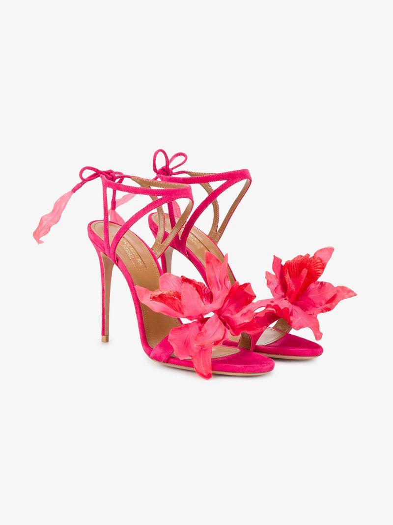 Flora suede back tie sandals paradise pink shoes sandals sandals aquazzura floral sandalsstrappy mightylinksfo Gallery