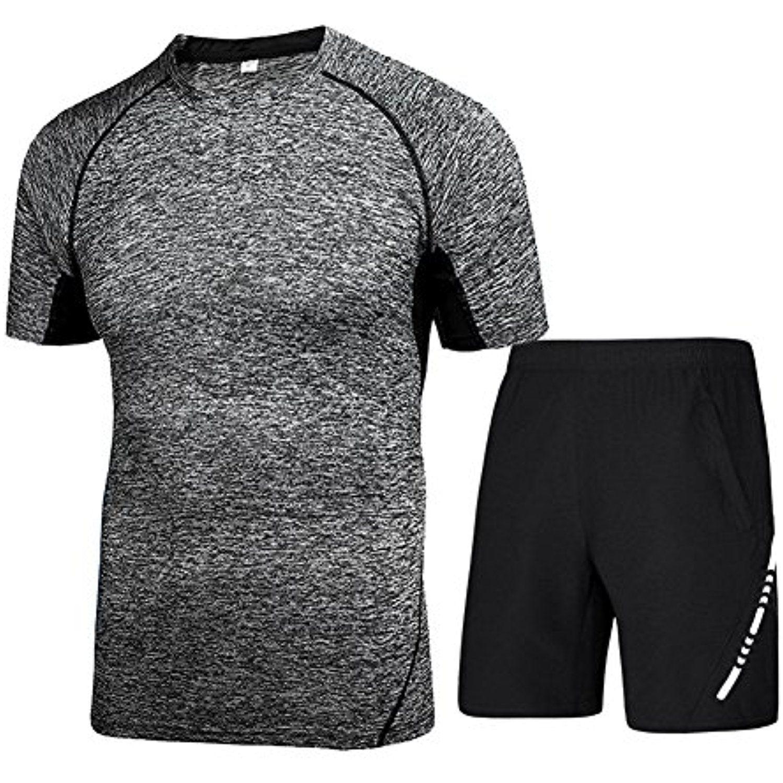 a46f05c5c HaloVa Men's Running Clothing, Sports Fitness Men 2pcs Set Quick Dry  Athletic Training T-Shirt Top #Clothing