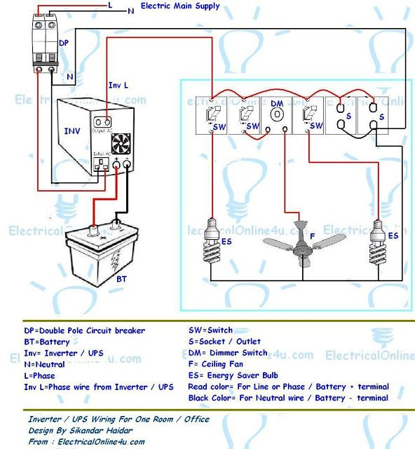 Ups Inverter Wiring Diagram For One Room Office With Images
