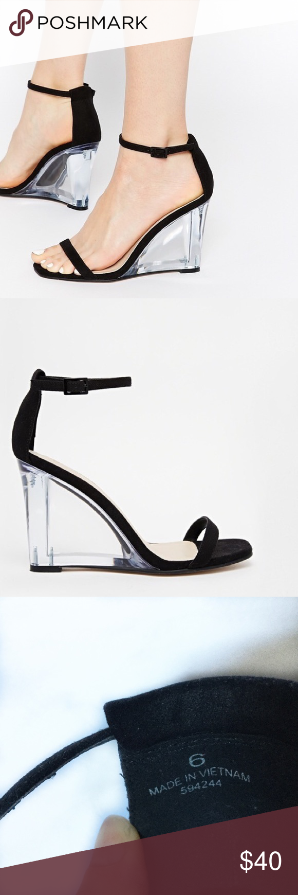 1d213cf1f88d Black strappy wedge w  clear heel ASOS