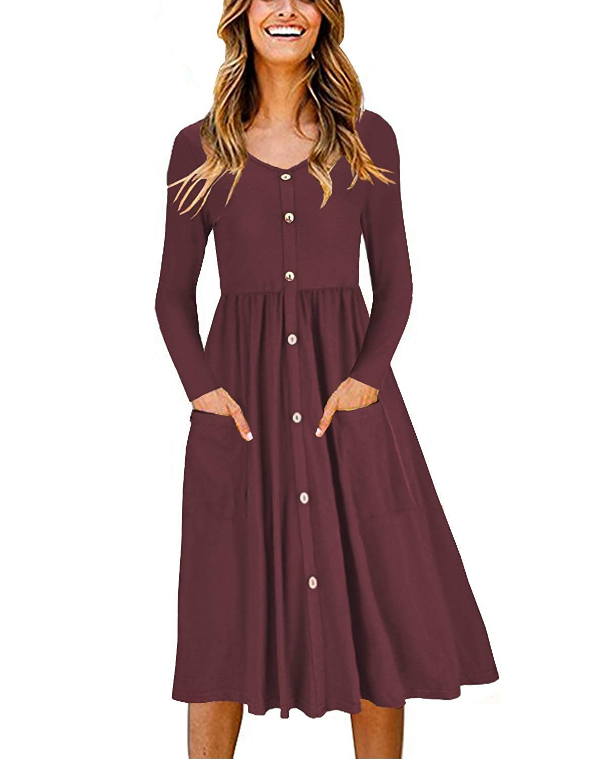 Ouges Women S Long Sleeve V Neck Button Down Skater Dress With Pockets At Amazon Women S Clothing Store Women Long Sleeve Dresses Long Sleeve Dress [ 1500 x 1200 Pixel ]