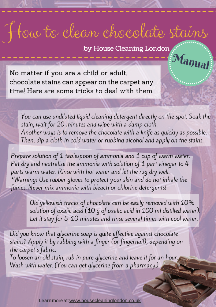 Short Manual On How To Deal With Chocolate Stains On Your Carpet Chocolate Stains Stains Clean House