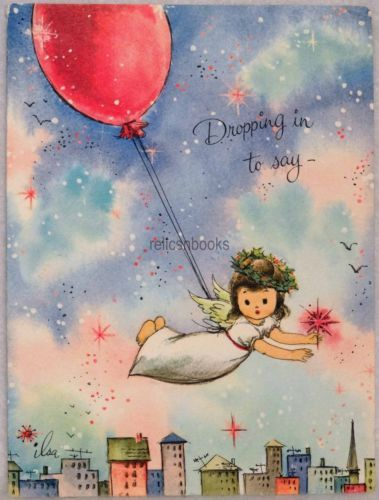 195-60s-ILSE-SCHEER-Angel-Flies-by-Balloon-Vintage-Christmas-Card-Greeting