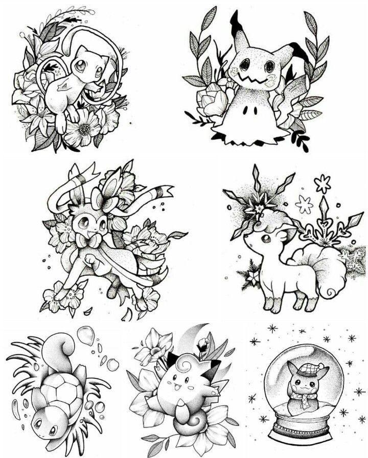 Parece que encontré mi primer tatuaje. Pikachu, Vulpix, Squirtle. ¡Me encantan esos diseños