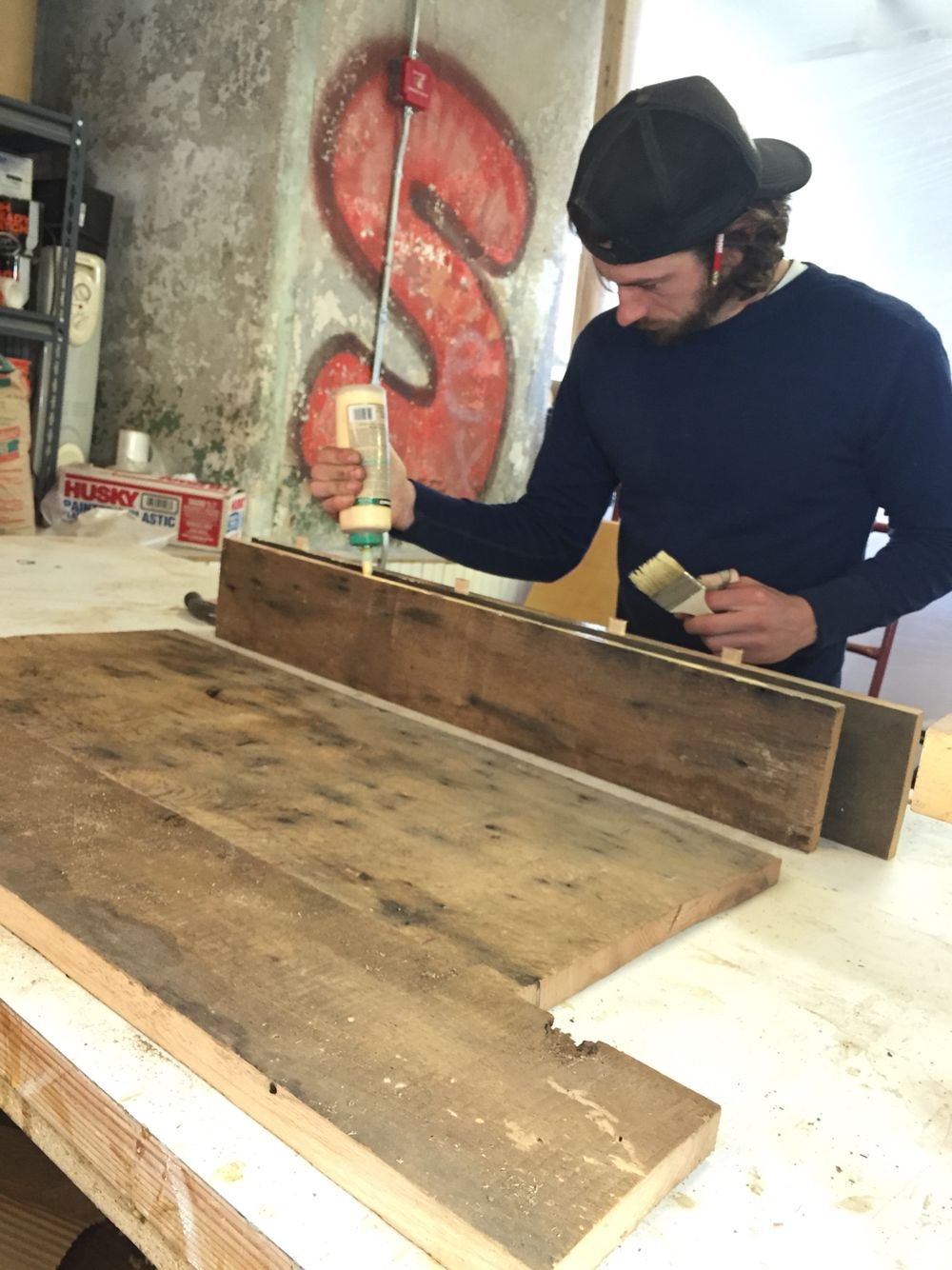 lovely local reclaimed wood #2: Local Reclaimed wood table, metal work legs   home decor design    handcrafted carpentry  
