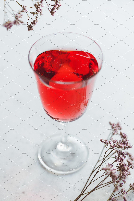 Glass Of Pink Wine