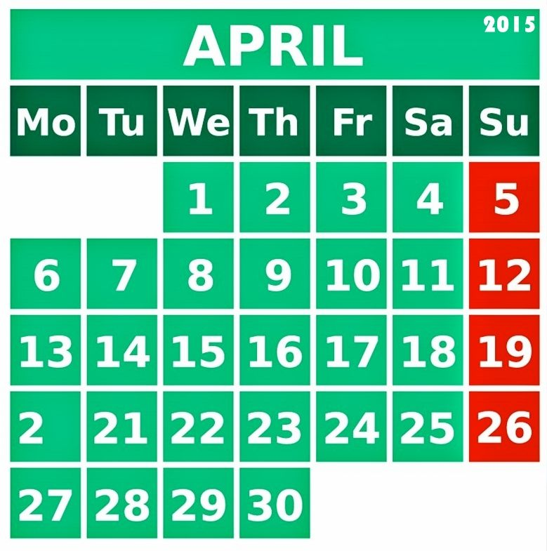 Download April Calendar 2015 With Holidays and its Images. Check more about 2015 April Calendar Printable Template, Excel, Pdf, Word, Vertex and many more.